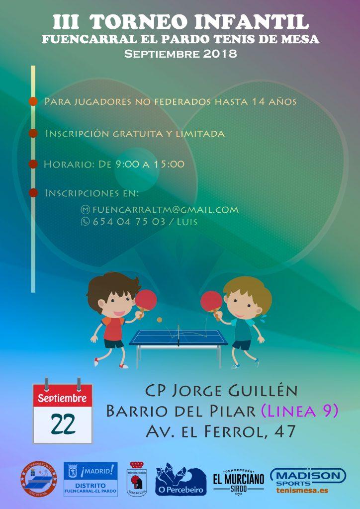 Cartel con información del torneo infantil de tenis de mesa organizado por el club Fuencarral - El Pardo TM