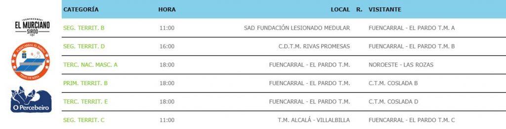 jornada VIII de liga de tenis de mesa de madrid siguientes partidos